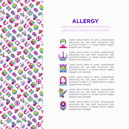 Allergy concept with thin line icons: runny nose, dust, streaming eyes, lactose intolerance, citrus, dust mite, flower, mold, peanut, allergy test, edema. Vector illustration, print media template. Vector Illustration
