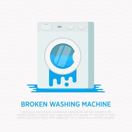 Broken washing machine with water around in flat style. Modern vector illustration.