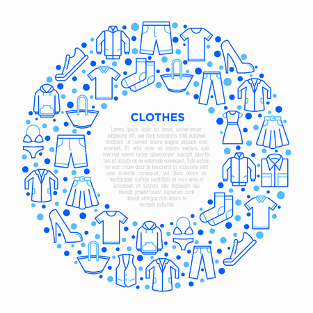 Clothing concept in circle with thin line icons set: shirt, shoes, pants, hoodie, sneakers, shorts, underwear, dress, skirt, jacket, coat, socks. Modern vector illustration, print media template.