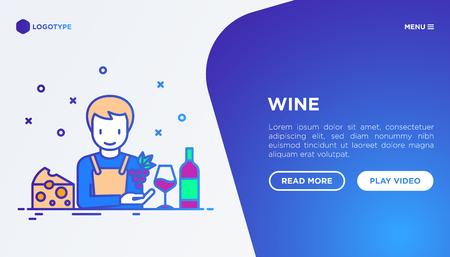 Wine concept: winemaker with thin line icons, wine glass, grapes, cheese. Modern vector illustration, web page template on gradient background. Illustration