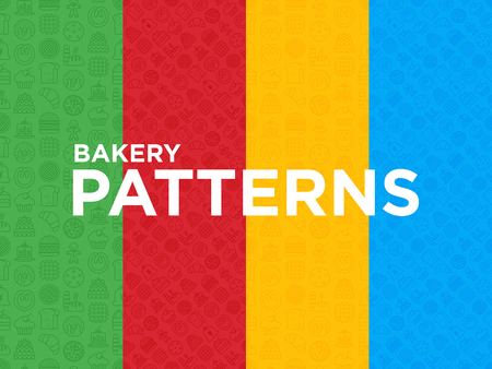 Four different Bakery seamless patterns with thin line icons: toast bread, pancakes, flour, croissant, donut, pretzel, cookies, gingerbread man, cupcake, burger, waffle. Modern vector illustration.