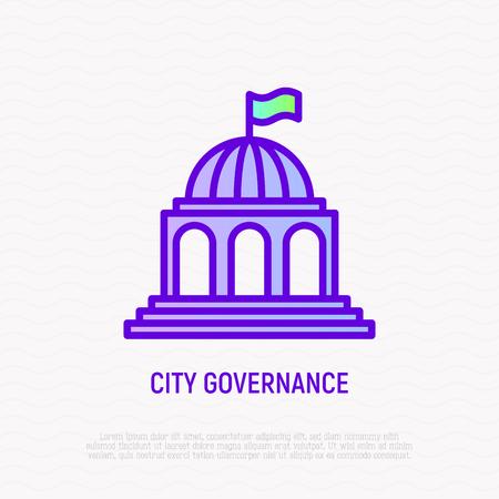 Symbol für die dünne Linie der Stadtverwaltung. Moderne Vektorillustration des Gebäudes.