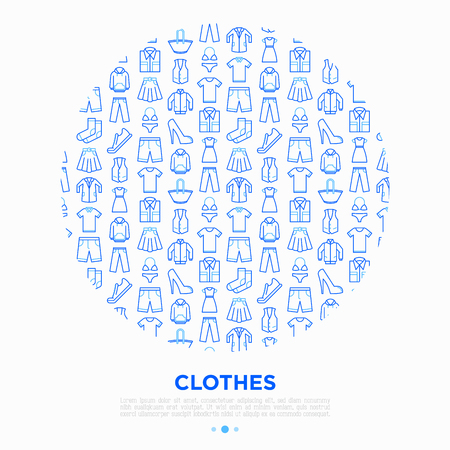 Clothing concept with thin line icons: shirt, shoes, pants, hoodie, sneakers, shorts, underwear, dress, skirt, jacket, coat, socks. Modern vector illustration for print media, banner.