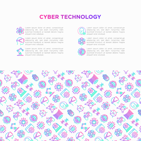 Cyber technology concept with thin line icons: ai, virtual reality glasses, bionics, robotics, global network, computer game, microprocessor, nano robots. Vector illustration, web page template. Illustration