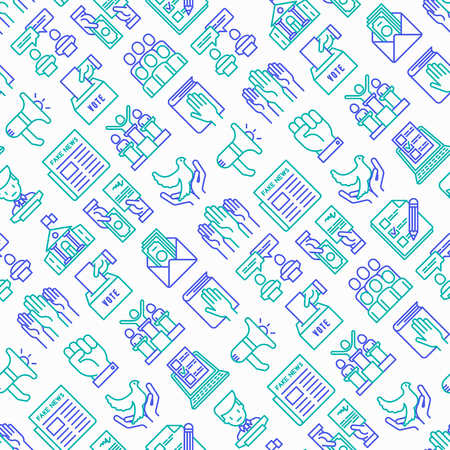 Election and voting seamless pattern with thin line icons: voters, ballot box, inauguration, corruption, debate, president, political victory, propaganda, bribe, agitation. Vector illustration. Illustration