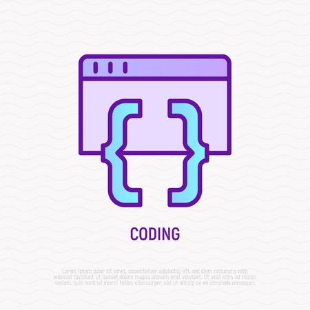 Coding thin line icon. Modern vector illustration of programming. Illustration