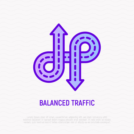 Balanced traffic, roads with arrows thin line icon. Element of smart city.