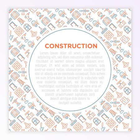 Construction concept with thin line icons: builder in helmet, work tools, brickwork, floor plan, plumbing, trowel, traffic cone, stepladder, jackhammer. Vector illustration, print media template.