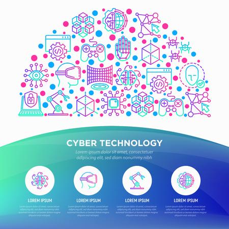 Cyber technology concept in half circle with thin line icons: ai, virtual reality glasses, bionics, robotics, global network, nano robots, blockchain. Vector illustration, web page template. Ilustração