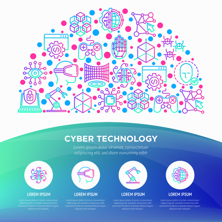 Cyber technology concept in half circle with thin line icons: ai, virtual reality glasses, bionics, robotics, global network, nano robots, blockchain. Vector illustration, web page template. Illustration