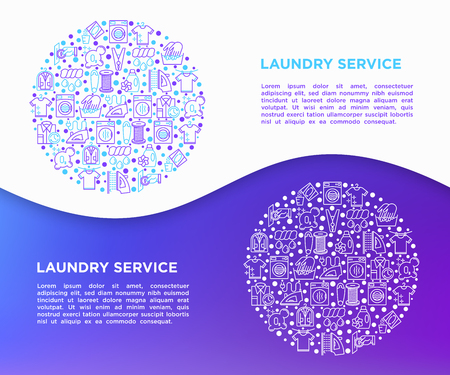 Laundry service concept in circle with thin line icons: washing machine, spin cycle, drying machine, fabric softener, iron, handwash, steaming, ozonation. Vector illustration, print media template.