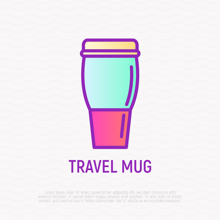 Travel mug thin line icon.