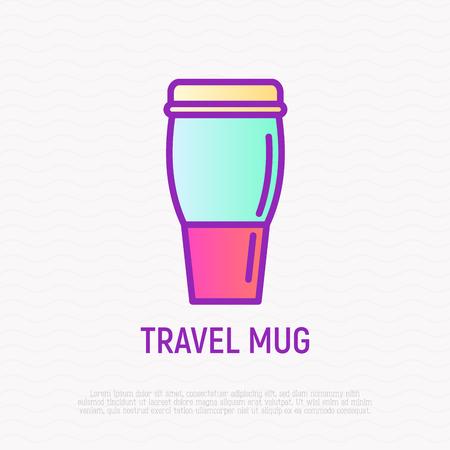 Travel mug thin line icon.