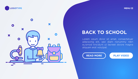 Back to school concept: student with backpack and microscope. Modern vector illustration, web page template on gradient background. Иллюстрация