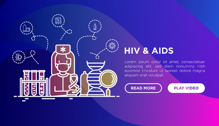 HIV and AIDs concept: doctor with blood test. Thin line icons: safe sex, blood transfusion, antiviral drugs, physical examination, AIDs ribbon. Vector illustration, web page template. Vektorové ilustrace