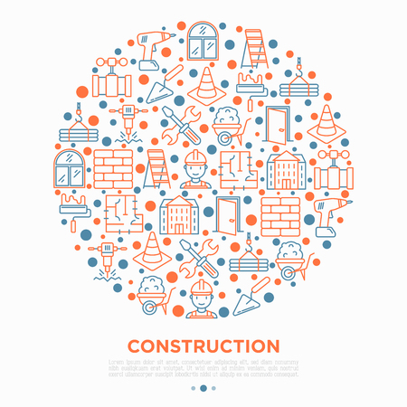 Construction concept in circle with thin line icons: builder in helmet, work tools, brickwork, floor plan, plumbing, drill, trowel, traffic cone, stepladder. Vector illustration, print media template. Ilustração