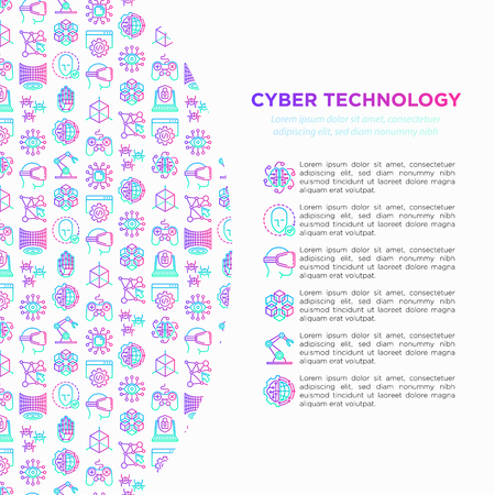 Cyber technology concept with thin line icons: ai, virtual reality glasses, bionics, robotics, global network, computer game, microprocessor, nano robots. Vector illustration, web page template. Ilustração