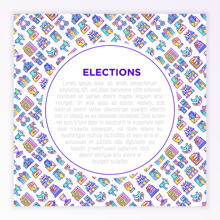 Election and voting concept with thin line icons: voters, ballot box, inauguration, corruption, debate, president, political victory, propaganda, bribe. Vector illustration, print media template.