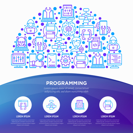 Programming concept in half circle with thin line icons: developer, code, algorithm, technical support, program setup, porting, compilation, app testing, virus. Vector illustration, web page template.