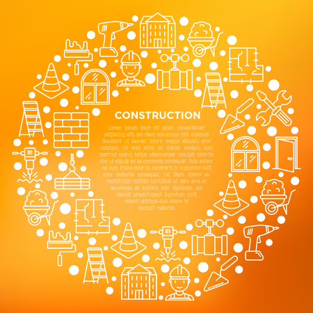 Construction concept in circle with thin line icons: builder in helmet, work tools, brickwork, floor plan, plumbing, drill, trowel, traffic cone, stepladder. Vector illustration, print media template.