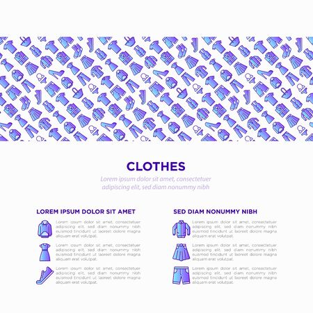 Clothing concept with thin line icons set: shirt, shoes, pants, hoodie, sneakers, shorts, underwear, dress, skirt, jacket, coat, socks. Modern vector illustration, print media template.