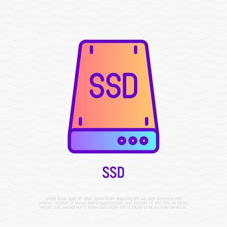 SSD thin line icon. Modern vector illustration.