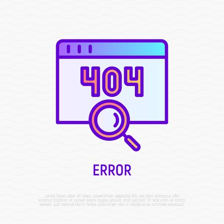 Error page thin line icon. Window with 404 sign and magnifier. Modern vector illustration. Иллюстрация