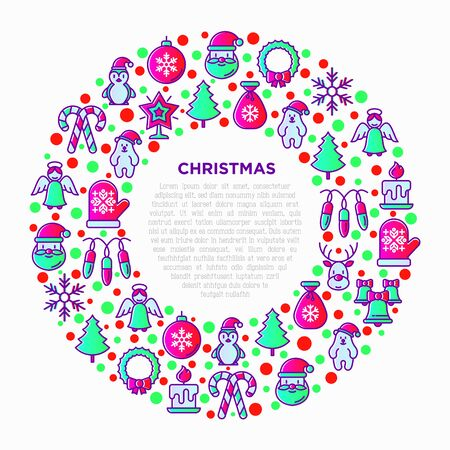 Christmas concept in circle with thin line icons: Santa Claus, snowflake, reindeer, wreath, candy cane, polar bear in hat, angel, mitten, candle, penguin, garland. Vector illustration for print media.