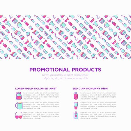 Promotional products concept with thin line icons: notebook, tote bag, sunglasses, t-shirt, water bottle, pen, backpack, cup, hat, travel mug, usb, lighter. Vector illustration, print media template. Vektorové ilustrace