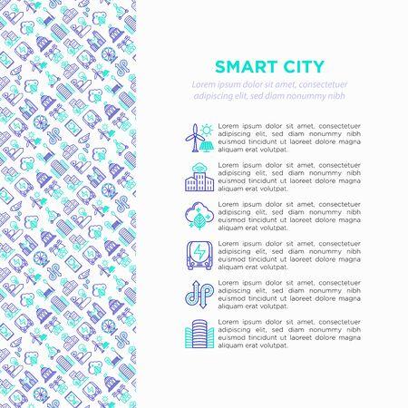 Smart city concept with  thin line icons: green energy, intelligent urbanism, efficient mobility, zero emission, electric transport, balanced traffic, CCTV. Vector illustration, print media template. Illustration