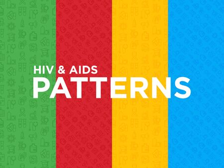 Four different HIV and AIDs seamless patterns with thin line icons: safe sex, blood transfusion, syringe, antiviral drugs, physical examination, AIDs ribbon, blood test. Modern vector illustration. Иллюстрация