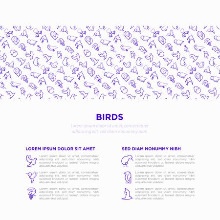 Birds concept with thin line icons set: dove, owl, penguin, sparrow, swallow, kiwi, parrot, eagle, humming bird, pink flamingo. Modern vector illustration, print media template.