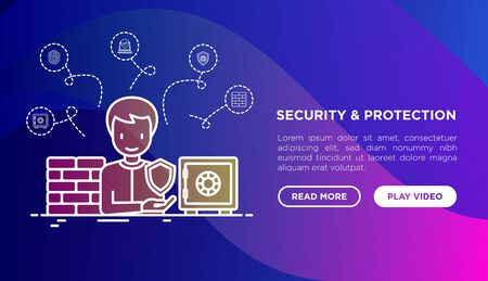 Security and protection concept with thin line icons: bank safe, mobile security, fingerprint, firewall, antivirus. Vector illustration, print media template on gradient background. Illustration
