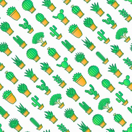 Cactus and succelents in pots seamless pattern with thin line icons. Modern vector illustration for shop of plants.