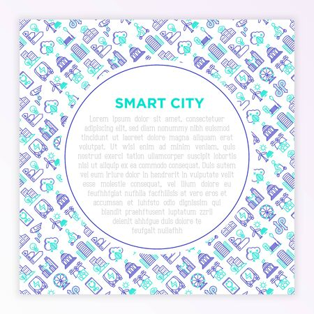 Smart city concept with thin line icons: green energy, intelligent urbanism, efficient mobility, zero emission, electric transport, public spaces, CCTV. Vector illustration, print media template.