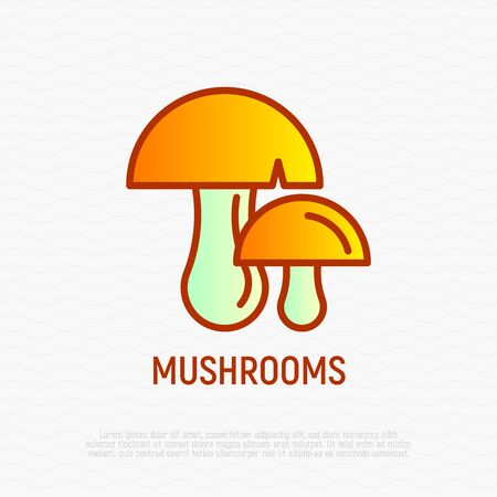 Mushrooms thin line icons. Modern vector illustration.