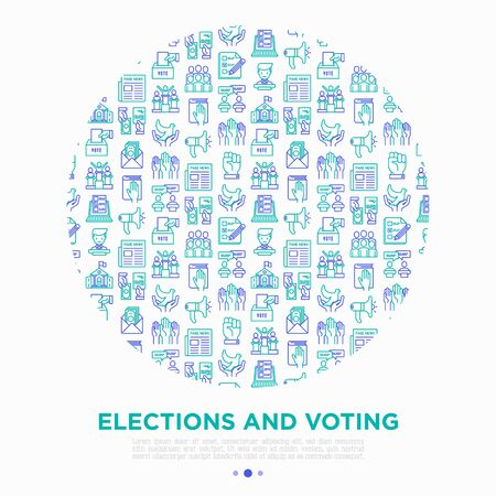 Election and voting concept in circle with thin line icons: voters, ballot box, inauguration, corruption, debate, president, political victory, propaganda. Vector illustration, print media template.