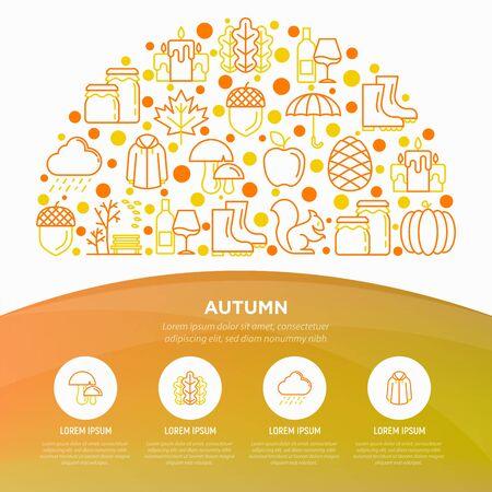 Autumn concept in half circle with thin line icons: maple, mushrooms, oak leaves, apple, pumpkin, umbrella, candles, acorn, raincoat, pinecone, squirrel. Vector illustration, print media template. Çizim