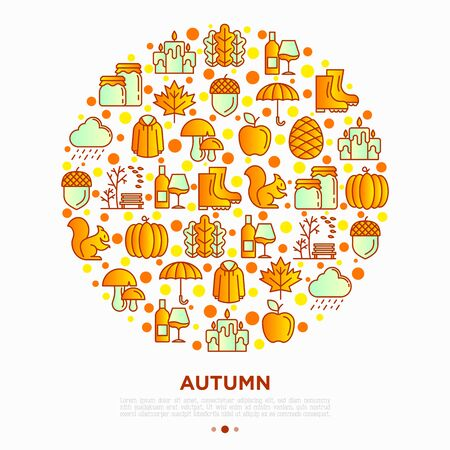 Autumn concept in circle with thin line icons