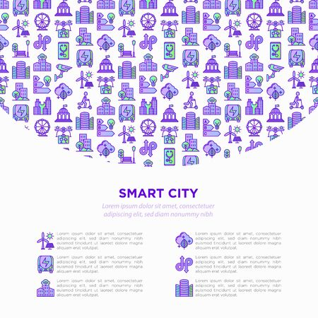 Smart city concept with  thin line icons