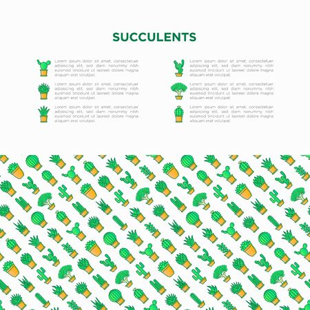 Cactus and succulents in pots concept with thin line icons for banner, print media