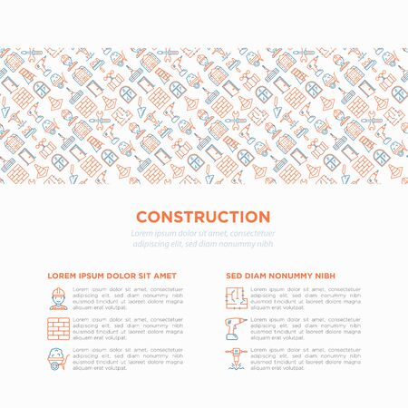 Construction concept with thin line icons Ilustracja