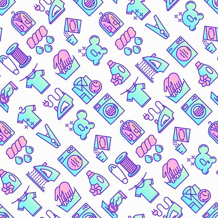 Laundry service seamless pattern with thin line icons