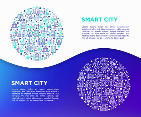 Smart city concept in circle with thin line icons