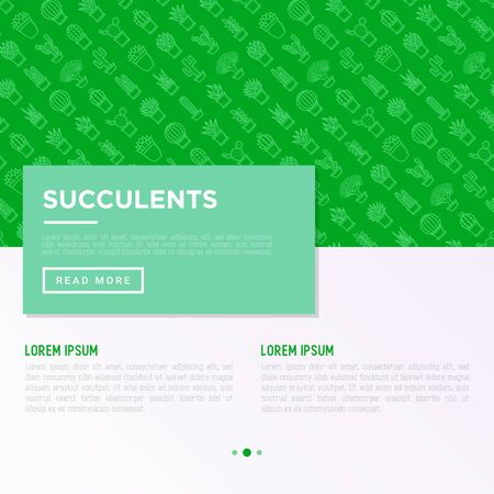 Cactus and succulents in pots concept with thin line icons for banner, print media. Modern vector illustration, web page template for shop of plants. Ilustracja