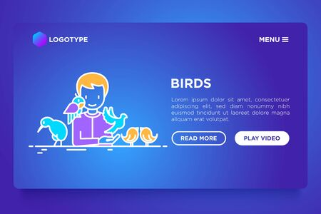 Ornithologist with different types of birds concept. Vector illustration, web page template on gradient background.