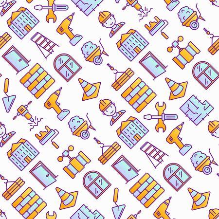 Construction seamless pattern with thin line icons: builder in helmet, work tools, brickwork, floor plan, plumbing, drill, trowel, traffic cone, stepladder, jackhammer. Vector illustration.