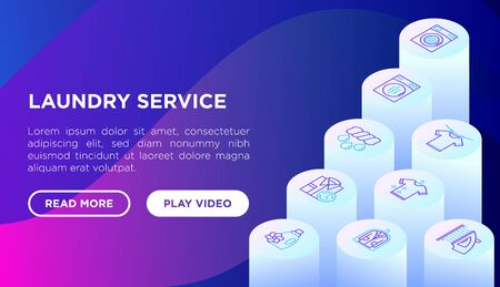 Laundry service concept with thin line isometric icons: washing machine, spin cycle, drying machine, fabric softener, iron, handwash, washing powder, steaming. Vector illustration, web page template.