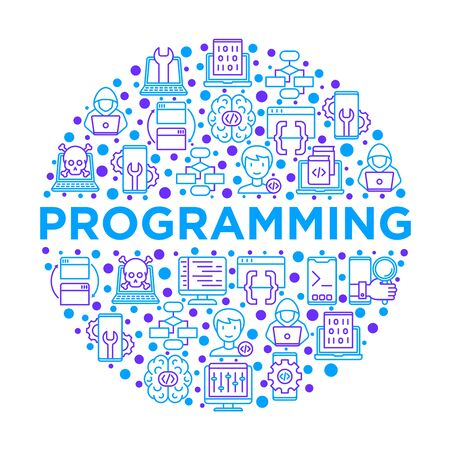 Programming concept in circle with thin line icons: developer, code, algorithm, technical support, program setup, porting, compilation, app testing, virus. Vector illustration, print media template.