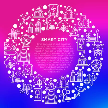 Smart city concept in circle with thin line icons: green energy, intelligent urbanism, efficient mobility, electric transport, balanced traffic, CCTV. Vector illustration, print media template. Stock Illustratie